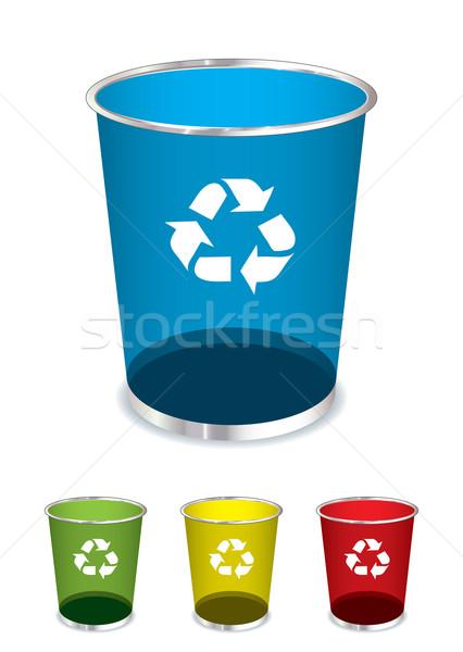 Lixo reciclar brilhante vidro cesto de lixo Foto stock © nicemonkey