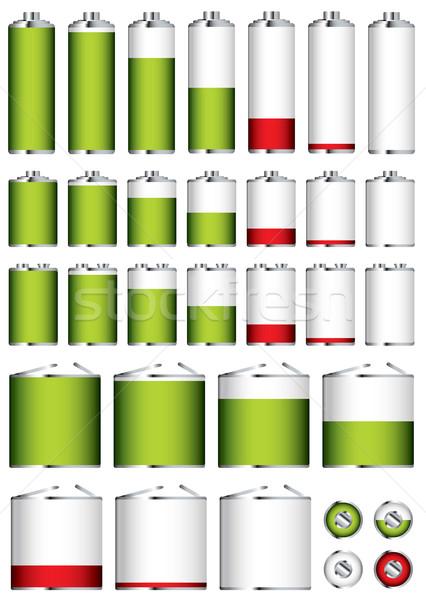Bateria coleção diferente formas vermelho poder Foto stock © nicemonkey