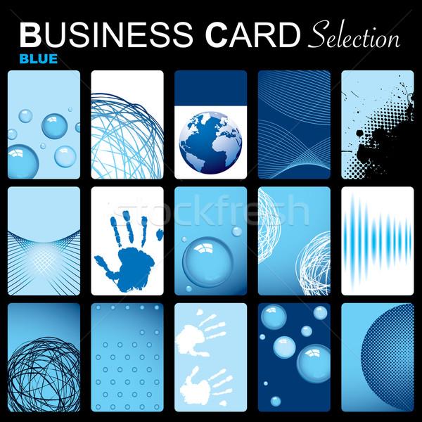 Névjegy tizenöt kék névjegyek absztrakt elemek Stock fotó © nicemonkey