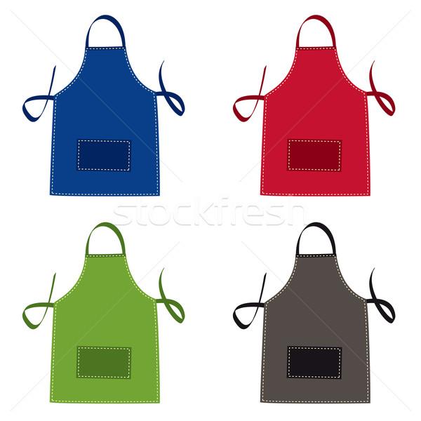 Fartuch kolekcja jasne kolory kieszeni czerwony Zdjęcia stock © nicemonkey