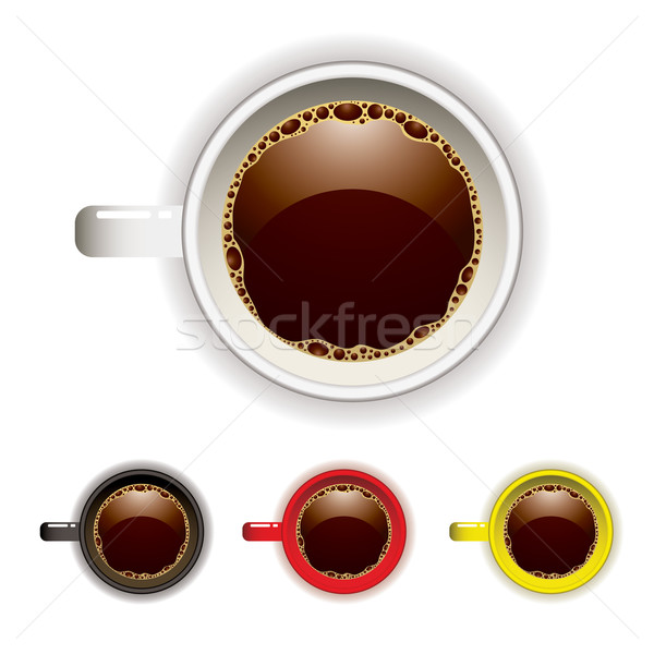 Tasse de café haut vue quatre couleur café Photo stock © nicemonkey