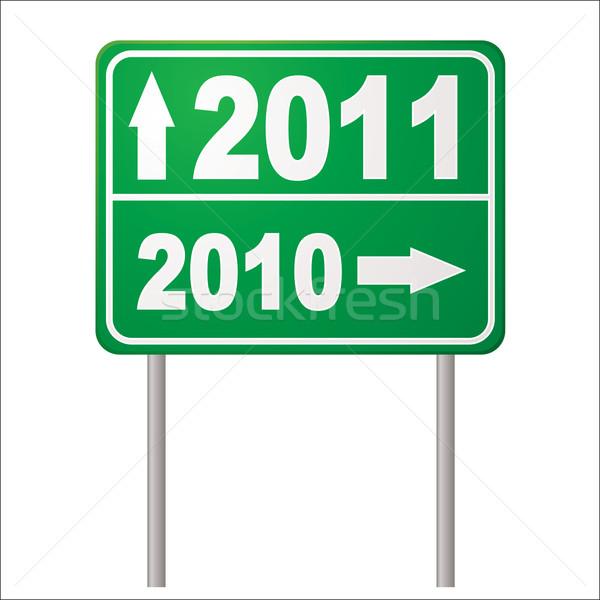 Senalización de la carretera 2011 año nuevo flecha metales post Foto stock © nicemonkey