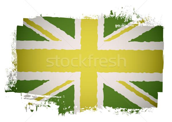 Zöld brit zászló citromsárga grunge absztrakt háttér Stock fotó © nicemonkey