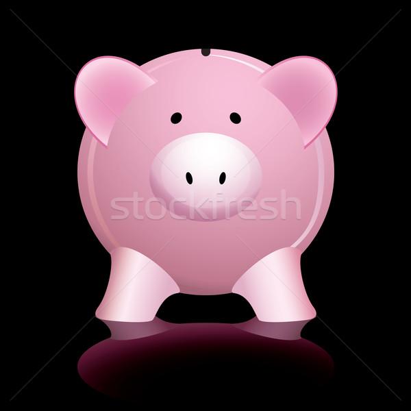 розовый Piggy Bank черный деньги глаза Сток-фото © nicemonkey