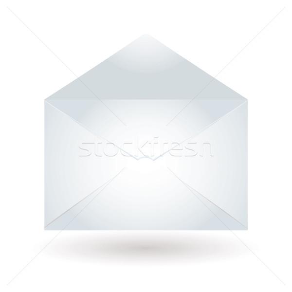 Enveloppe bleu clair blanche ouvrir papier mail Photo stock © nicemonkey