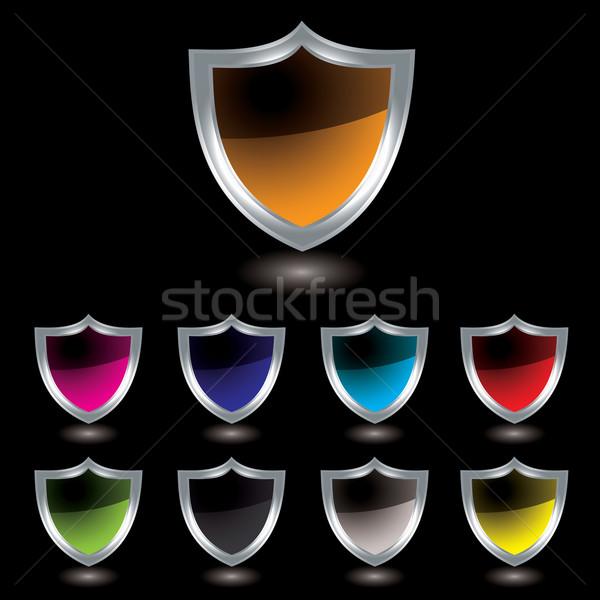 silver shield black Stock photo © nicemonkey