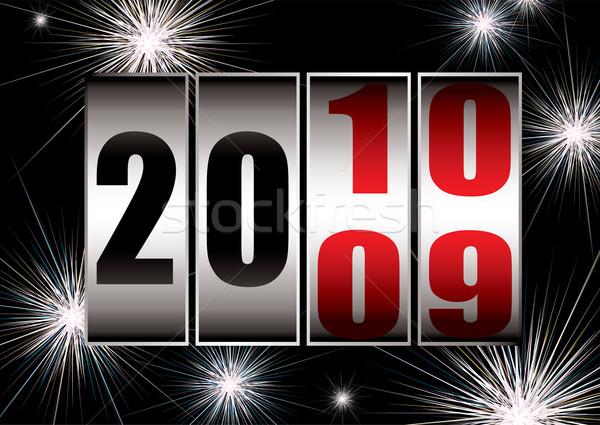 Nieuwjaar verandering vuurwerk vieren 2010 zwarte Stockfoto © nicemonkey