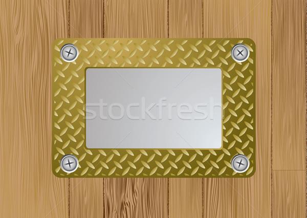Arany fém fogkő név tányér fából készült Stock fotó © nicemonkey