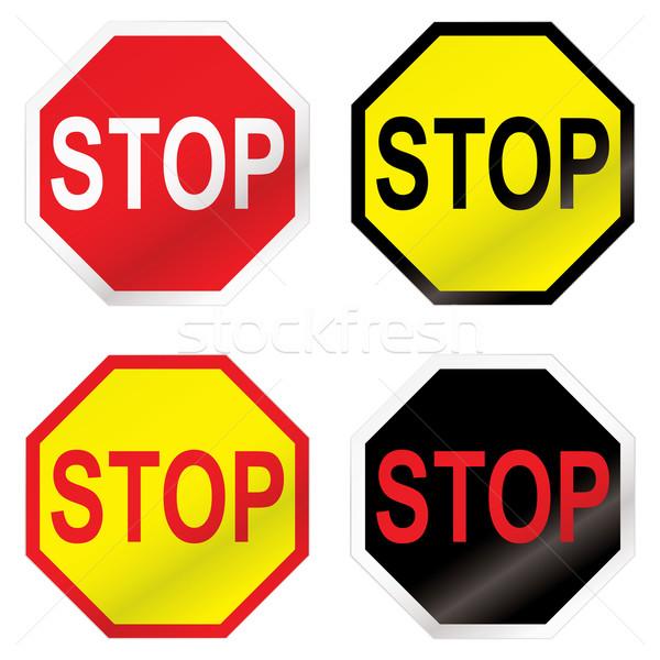 остановки дорожный знак изменение четыре цвета икона Сток-фото © nicemonkey