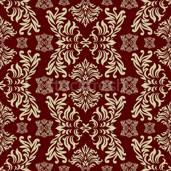 Сток-фото: темно-бордовый · Готский · бесшовный · повторять · дизайна · цветочный
