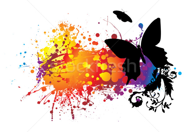 Czarny Motyl kolorowy streszczenie pokój tle Zdjęcia stock © nicemonkey