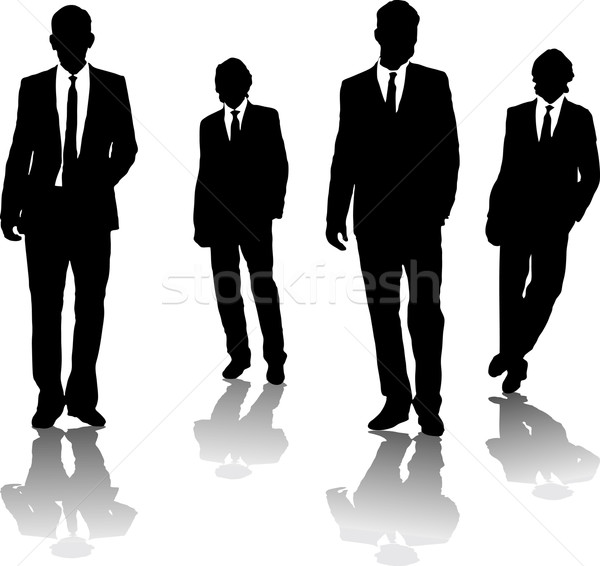 Hommes d'affaires quatre noir silhouette gangster Photo stock © nicemonkey