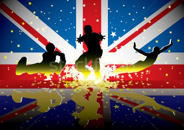 Brit zászló sportok emberek tükröződés háttér csillagok Stock fotó © nicemonkey