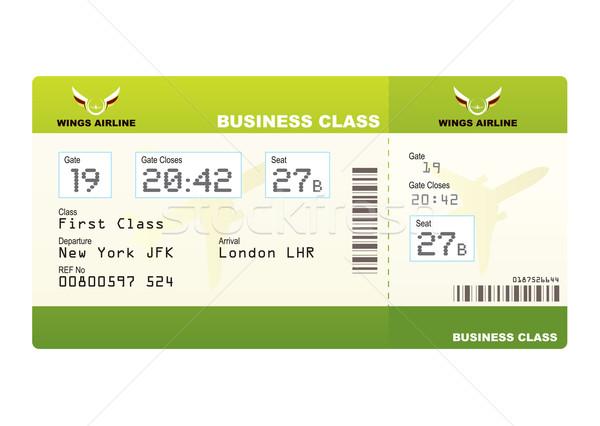 Stock fotó: Repülőgép · jegyek · üzlet · osztály · zöld · beszállás