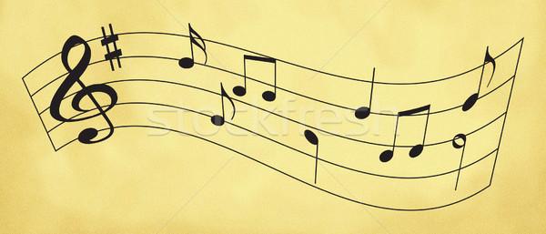 Kotta kopott darab zene fekete jegyzetek Stock fotó © nicemonkey