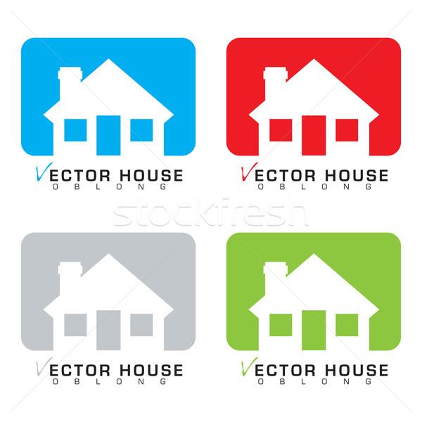 Ház ikon gyűjtemény gyűjtemény négy bungaló ikonok Stock fotó © nicemonkey