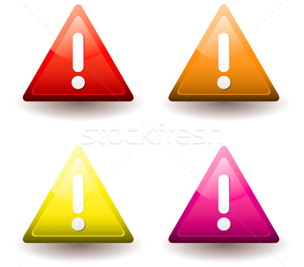 Avertissement triangle quatre chute ombre point d'exclamation Photo stock © nicemonkey