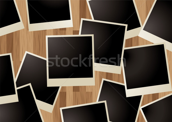 Zdjęcia stock: Polaroid · drewna · kolekcja · typu · zdjęć