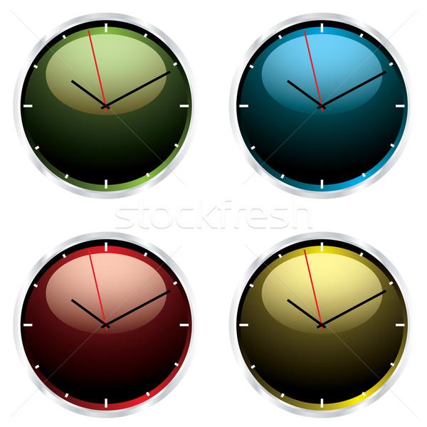 Moderno parede relógio quatro relógios metal Foto stock © nicemonkey