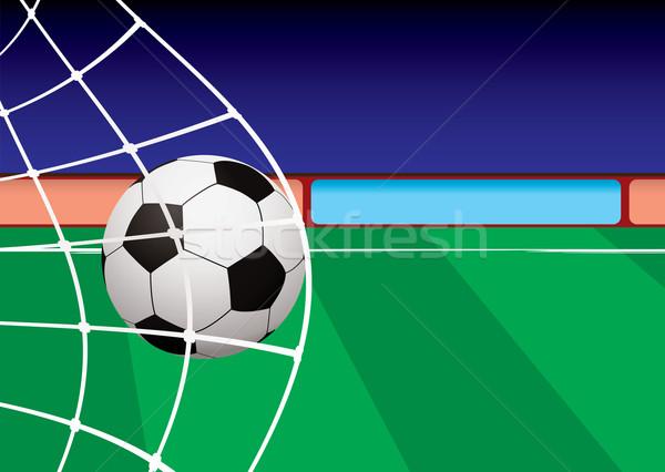 Voetbal toonhoogte doel net bal groene Stockfoto © nicemonkey