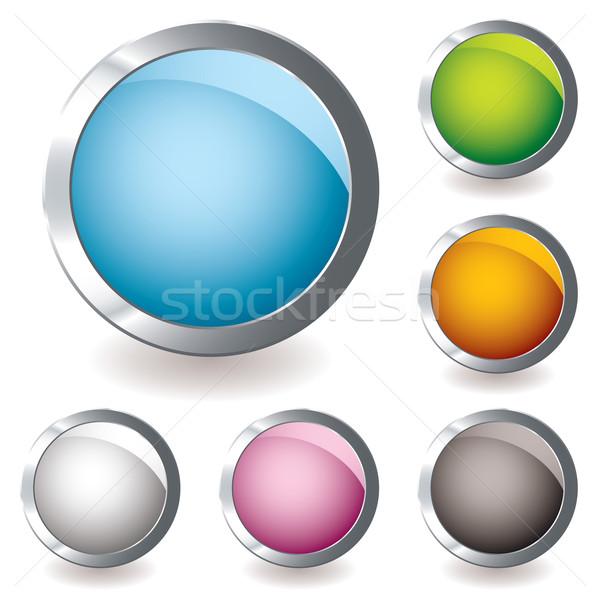 Webes ikon variáció hat gomb fényes színek Stock fotó © nicemonkey