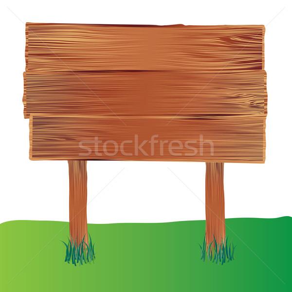 Drewna podpisania ilustrowany przestrzeni Zdjęcia stock © nicemonkey