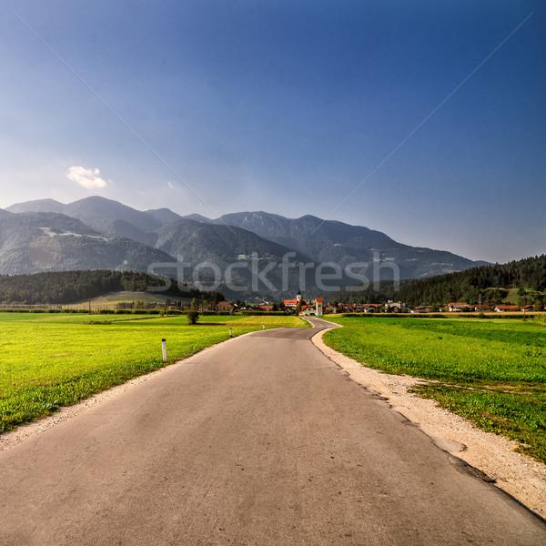 Weg alpen dorp Slovenië huis boom Stockfoto © Nickolya