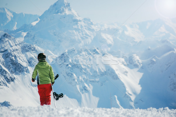 Ritratto femminile snowboarder indossare casco ragazza Foto d'archivio © Nickolya