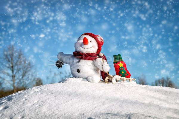 Happy snowman with hat Stock photo © Nickolya