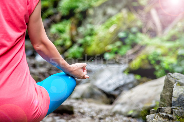 Woman meditating in the forest Stock photo © Nickolya
