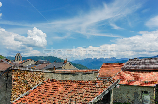 Oude berg dorp steen huizen Rood Stockfoto © Nickolya