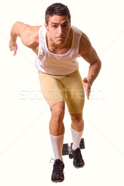 útvonal mező atléta kezdet futás stúdiófelvétel Stock fotó © nickp37