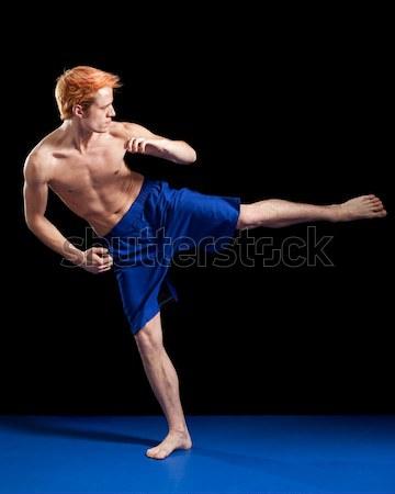 Güreş eylem siyah spor mavi Stok fotoğraf © nickp37