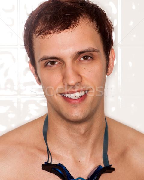 úszó fiatal felnőtt férfi fej lövés védőszemüveg Stock fotó © nickp37