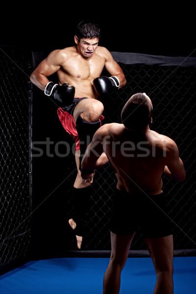Karışık kavga diz grev spor atlamak Stok fotoğraf © nickp37