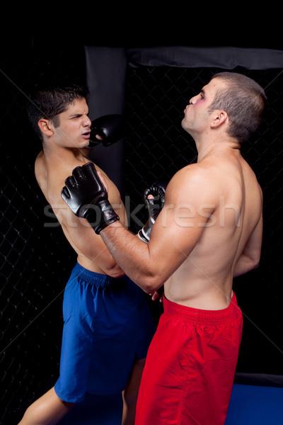 Karışık spor erkekler ayakta boksör dövüş sanatları Stok fotoğraf © nickp37