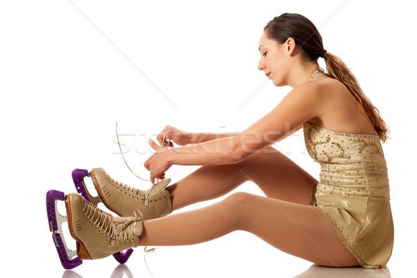 Alkat görkorcsolyázó korcsolya stúdiófelvétel fehér sportok Stock fotó © nickp37