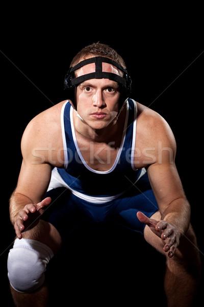 Worstelaar Blauw zwarte sport witte Stockfoto © nickp37