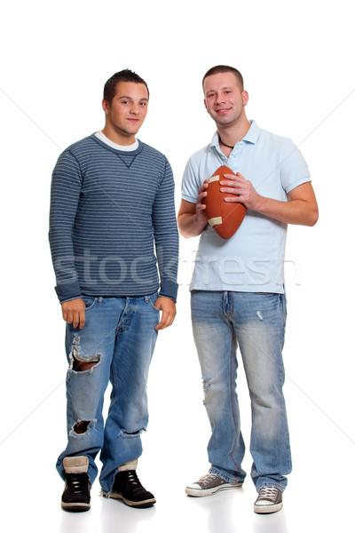 Két férfi futball férfi férfiak stúdió férfi Stock fotó © nickp37