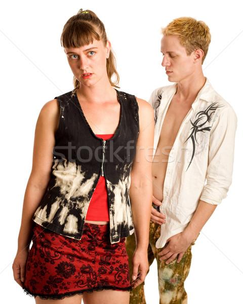 Alt fashion couple. Studio shot over white. Stock photo © nickp37