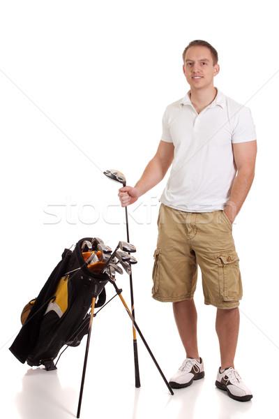 Stock fotó: Fiatal · férfi · golfozó · stúdiófelvétel · fehér · férfi