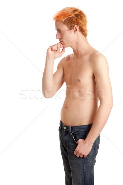 Torse nu homme jeans blanche cheveux Photo stock © nickp37