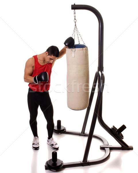 Zdjęcia stock: Boks · treningu · ciężki · worek · biały