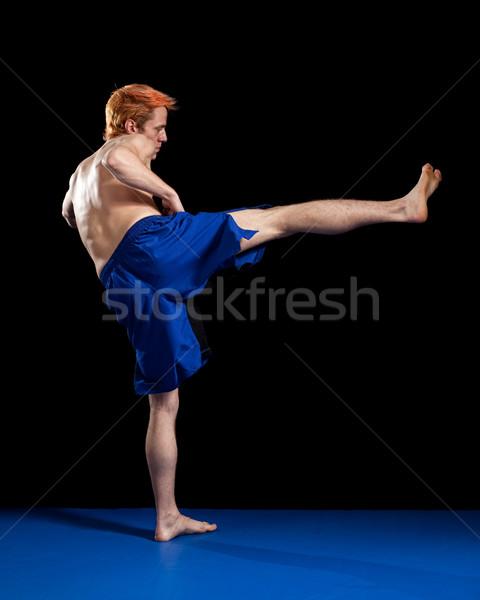 Kunstenaar Blauw shorts zwarte sport Stockfoto © nickp37