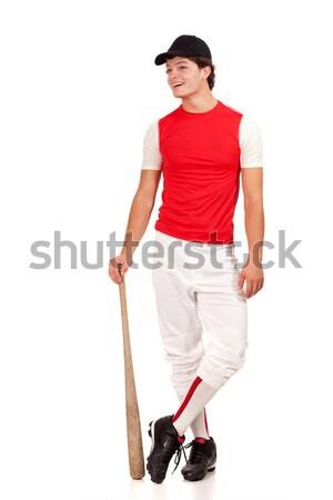 Férfi baseball játékos stúdiófelvétel fehér férfi sport Stock fotó © nickp37