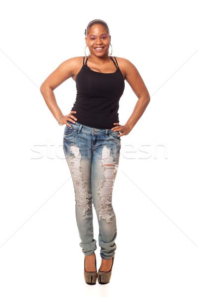Lezser fiatal nő stúdiófelvétel fehér nő mosoly Stock fotó © nickp37