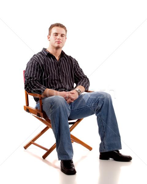 случайный молодым человеком сидящий человека моде Председатель Сток-фото © nickp37