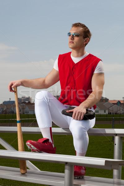Сток-фото: бейсболиста · спорт · команда · красный · парка · белый