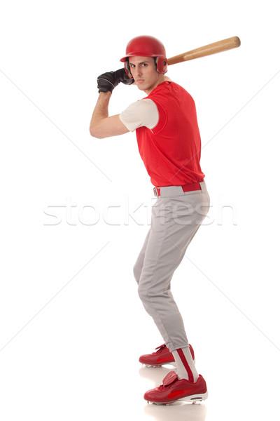 Male baseball player. Studio shot over white. Stock photo © nickp37
