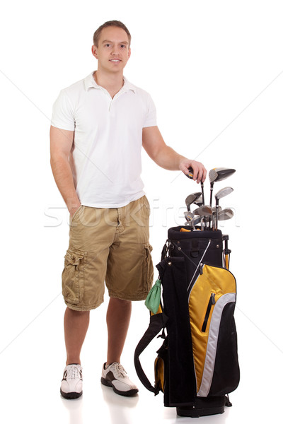 Young male golfer. Studio shot over white. Stock photo © nickp37
